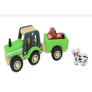 Toyslink - Wooden Farm Tractor with Trailer