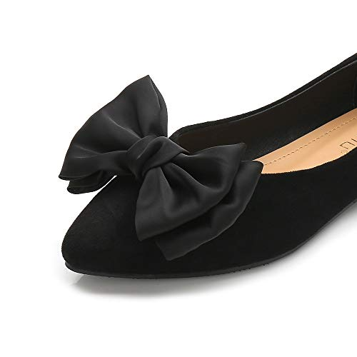 Wollanlily Women's Comfortable Bow Point Toe Slip On Ballet Flat Dress Shoes(7 B(M) US,Black)