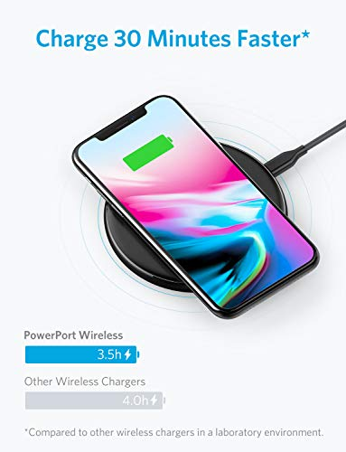 Wireless Charger, Anker Qi-Certified Ultra-Slim Wireless Charger Compatible iPhone X, iPhone 8/8 Plus, Samsung Galaxy S9 / S9+/ S8/ S8+ / S7 / Note 8 and More, PowerPort Wireless 5 Pad (No AC Adapter)