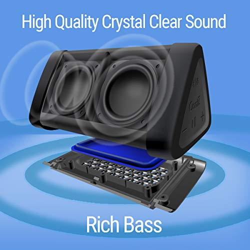 OontZ Angle 3 Enhanced Edition Speaker, Portable Bluetooth Speaker with 100ft Wireless Range, Volume Booster AMP 10 Watts Power, Custom Bass Radiator, Crystal Clear Stereo Sound, IPX5 Splashproof