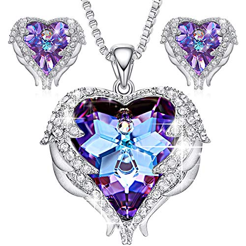 CDE Angel Wing Crystal Pendant, Necklaces, Purple Heart, of Ocean Silver Stud Earrings, for Women Birthday, Jewelry Gifts for Girlfriend Girls Mom