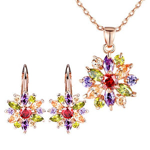 BAMOER 18K Rose Gold Plated, Cubic Zirconia, Snowflake Lever Back Earrings, Necklace Set, for Women Girls CZ Jewelry Set, Rose Gold & Colorful CZ
