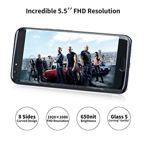 "Unlocked Cell Phones, DOOGEE BL5000 Unlocked Phone - 5.5"" FHD Screen - Android 7.0 MT6750T - 5050mAh Battery - 4GB RAM + 64GB ROM - Dual 13MP Camera - Dual SIM Unlocked Smartphone, Black"