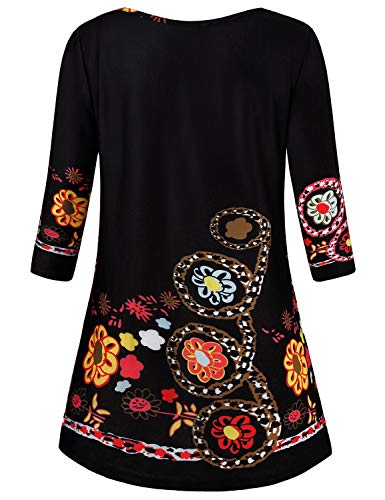 Baikea Peasant Tops for Women, Ladies Casual Round Neck 3/4 Sleeve Front Pleated Floral Modern Shirt Great Cut Soft Relaxed Elegant Charming Leisure Tunics Black L