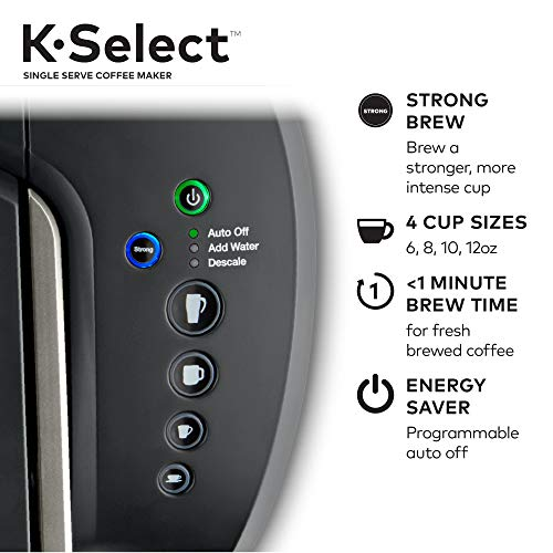 Keurig, K-Select Single Serve K-Cup Pod Coffee Maker, Matte Black with 32 Krispy Kreme, Light Roast K-Cup Coffee Pods