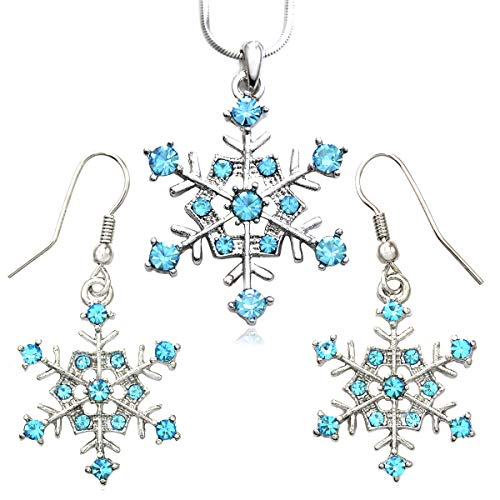 Soulbreezecollection, Winter Snowflake Pendant Necklace and Earrings, Bridal Wedding Bridesmaid Prom Set (Aqua)