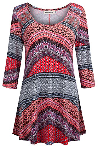 Nandashe Business Casual Tops for Women, Ladies Lightweight 3/4 Cuffed Sleeve Soft Tunic Blouses Floral Print Loose Relaxed Flattering Fitting Shirts for Leggings Orange M Size 10