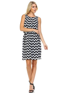 Women's Geometric Printed Dress with Side Pockets