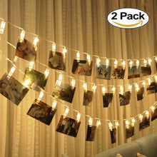 Load image into Gallery viewer, LED String Lights with Photo Clips Battery Operated Indoor Outdoor Decorative Fairy Lights for Bedroom, Patio, Dorm Room, Wedding, Party, Photo Holder with 10 Clips (2 Pack)