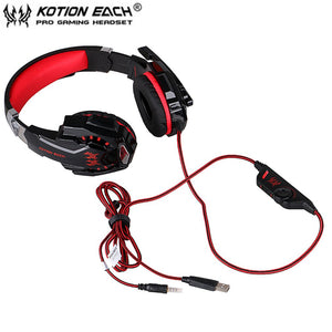 Headphone Microphone USB Headset LED Light