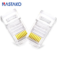 Load image into Gallery viewer, NASTAKO Cat5 Cat5e RJ45 Connector RJ45 Crystal Modular Plugs Cat 5 Ethernet UTP Network Cable 8pin RJ45 Connectors