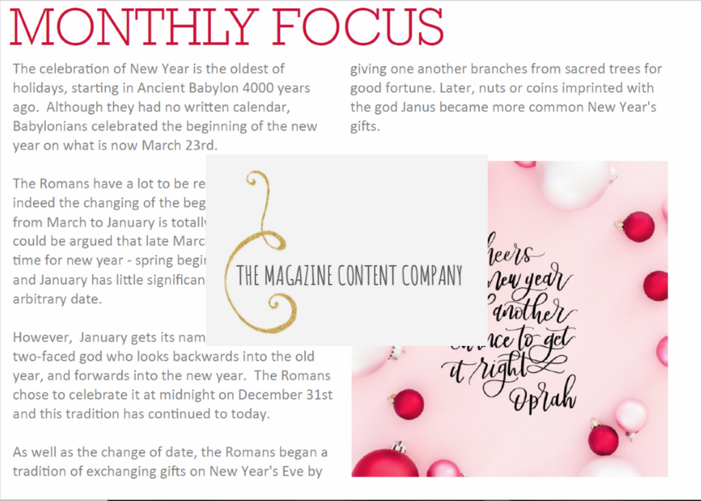 Monthly Focus - January
