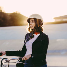 Load image into Gallery viewer, Thousand helmet gold girl with bike sunset