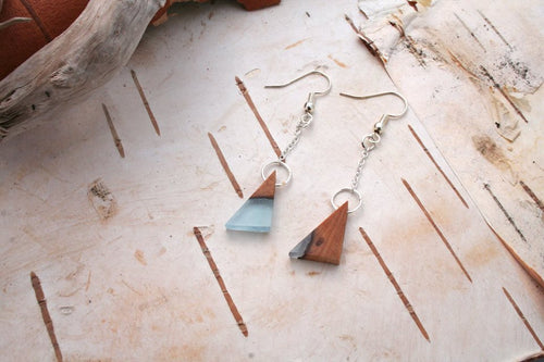 Geometric earrings - Lake inspired triangles (SOLD)