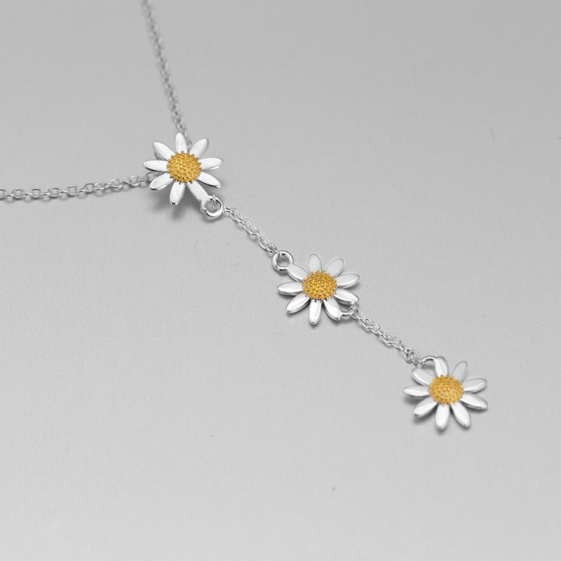 Sterling Silver Gold Daisy Drop Necklace AZN-AN61