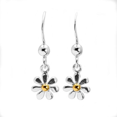 Sterling Silver Gold Daisy Drop Earrings NT1535-979