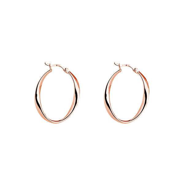 Rose Gold Twist Hoop Earrings NJE5234