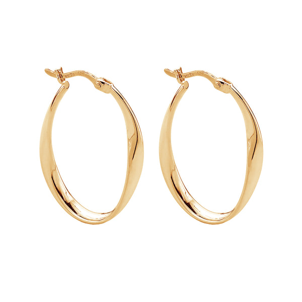 Gold Twist Hoop Earrings NJE5238