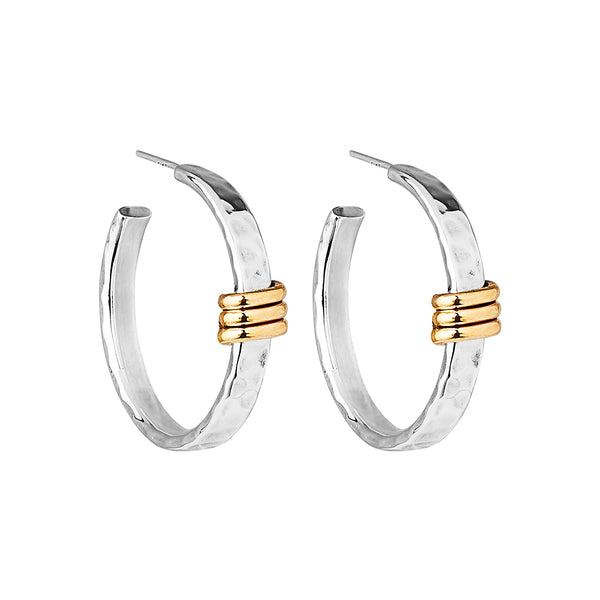Sterling Silver Hammered Gold Hoop Earrings NJE6129