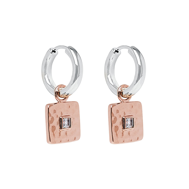Square Rose Gold Drops on Silver Hoops with Blue Topaz NJE6261