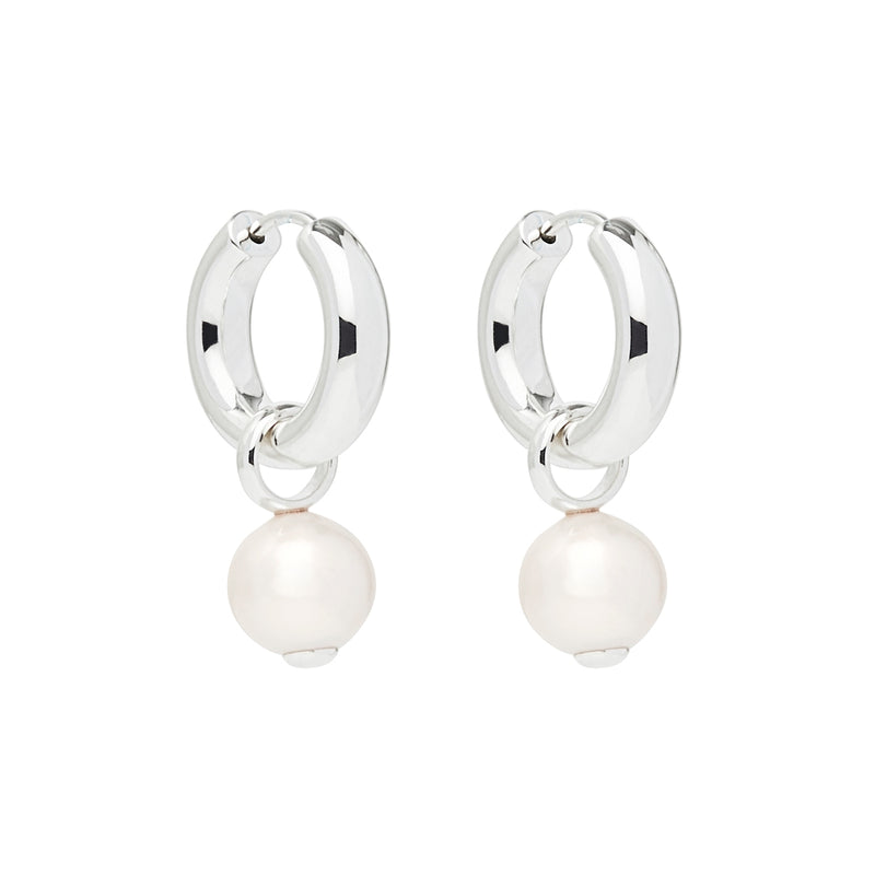White Pearl Hoop Drop Earrings NJE6336