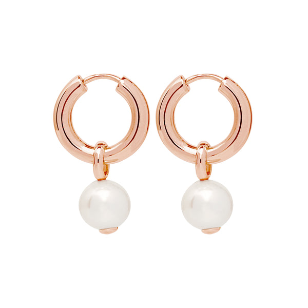 White Pearl Rose Gold Hoop Drop Earrings NJE6337