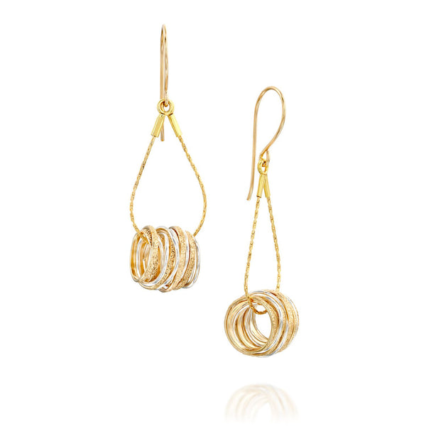 Gold Silver Wire Wrap Drop Earrings ITE117