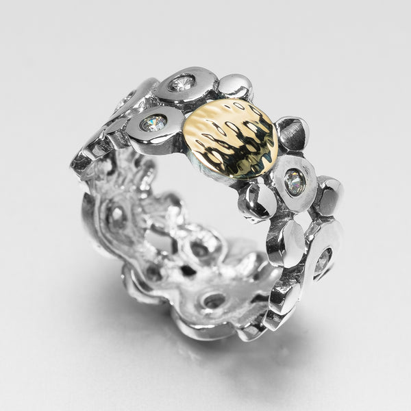 Silver CZ and Gold Circle Ring Narrow HY-ER2526A