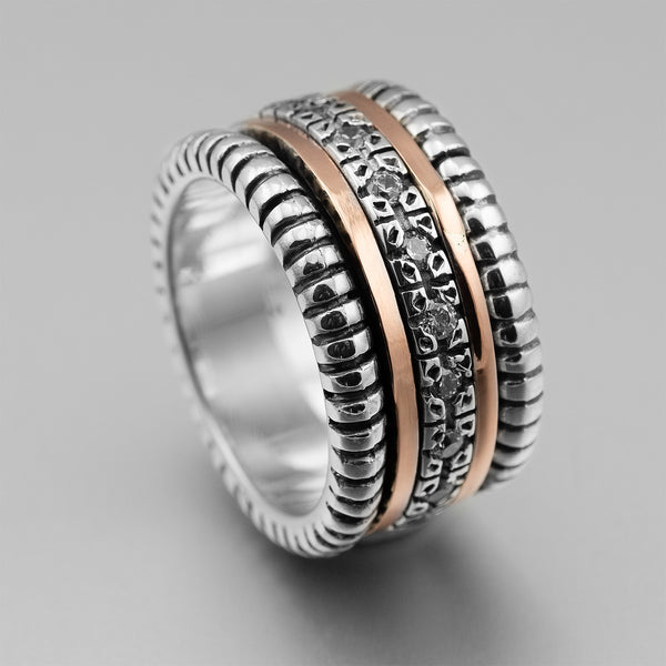 Sterling Silver Gold CZ Spinner Ring HY-ER2533cz