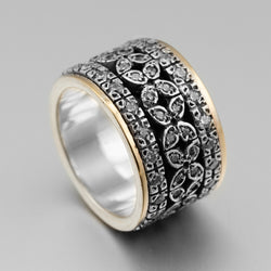 Sterling Silver Gold CZ Petal Spinner Ring HY-ER3044