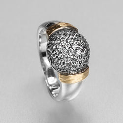 Silver Yellow Gold CZ Dome Ring HY-ER4456