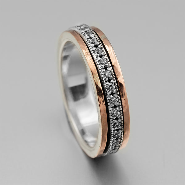 Sterling Silver Rose Gold CZ Narrow Spinner Ring HY-ER4708RG