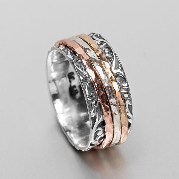 Embossed Sterling Silver Gold Spinning Ring HY-JR142GF