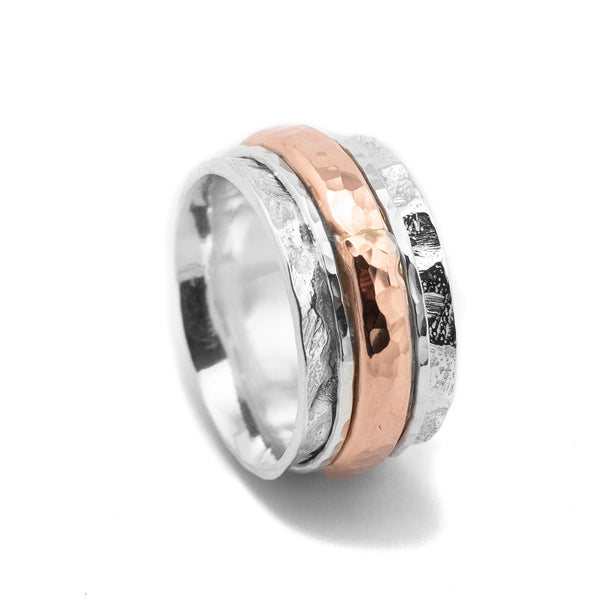 Sterling Silver Rose Gold Spinning Ring HY-JR795RG