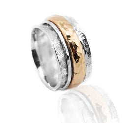 Sterling Silver Gold Spinning Ring HY-JR795YG