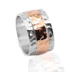 Sterling Silver Rose Gold Ribbon Ring HY-JR957RG