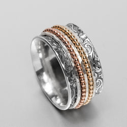 Embossed Sterling Silver Gold Spinning Ring HY-RP50GF