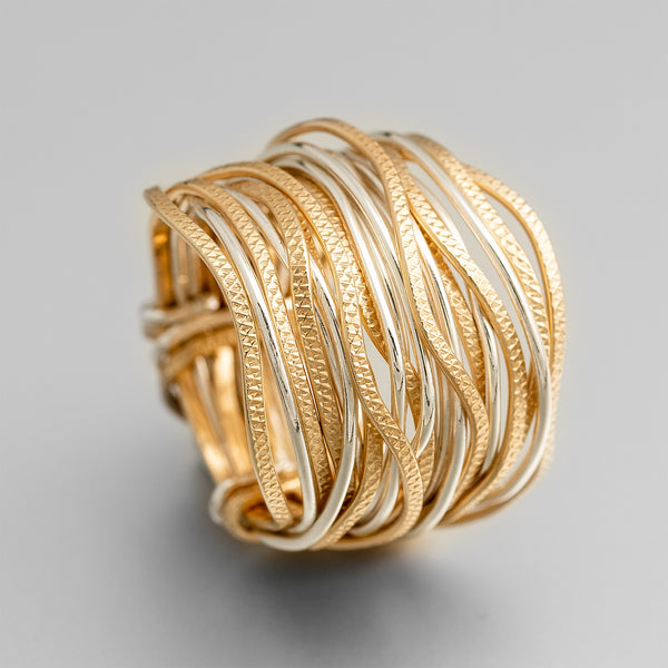 Silver Gold Wavy Wire Wrap Ring ITR104