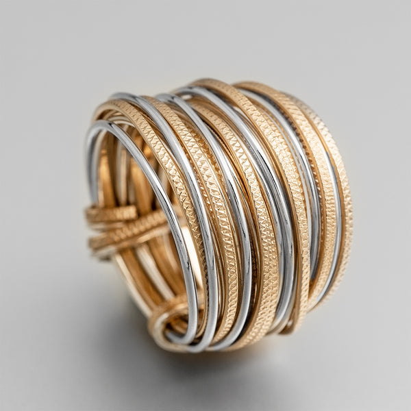 Silver Gold Wire Wrap Ring ITR106
