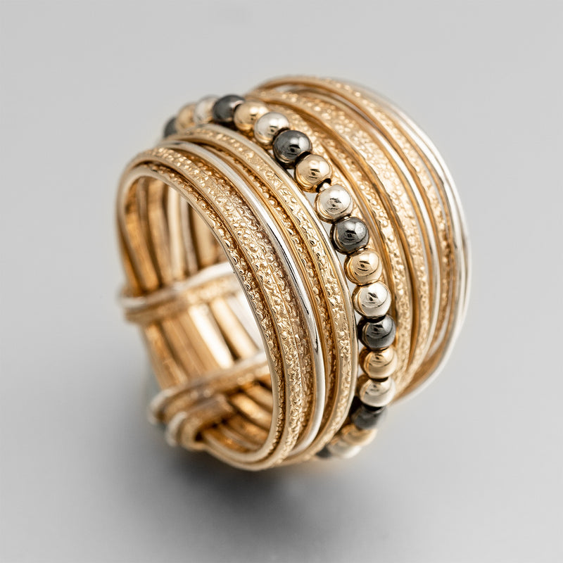 Silver Gold Wire Wrap Bead Ring ITR109