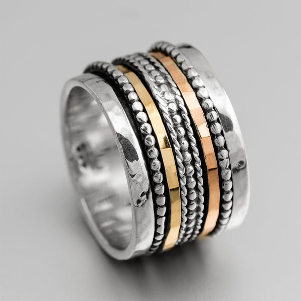 Silver Gold Spinner Ring ITR1130
