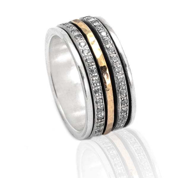 Sterling Silver Gold CZ Spinning Ring ITR785