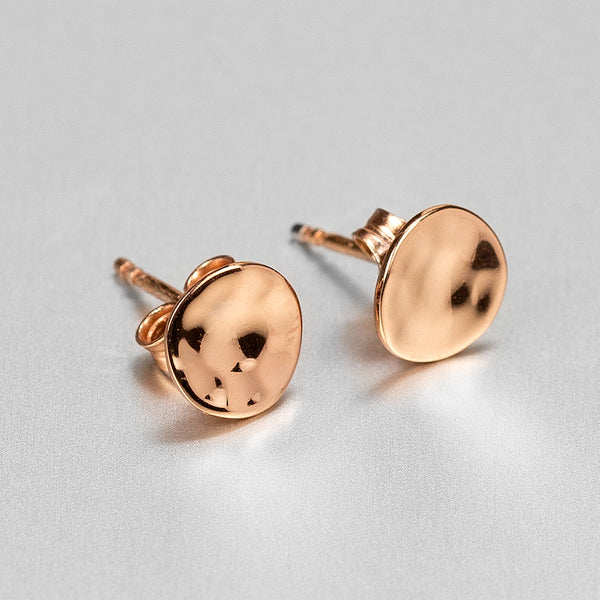 Rose Gold Hammered Stud Earrings NJE5570