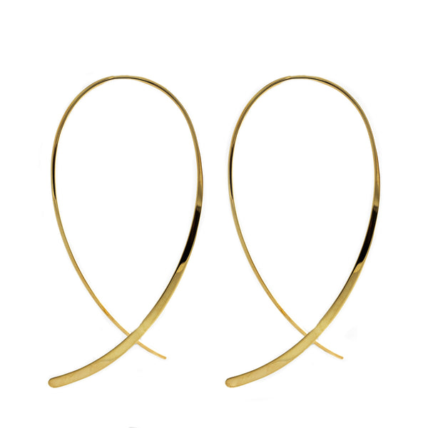 Yellow Gold Blade Earrings OJE-20790