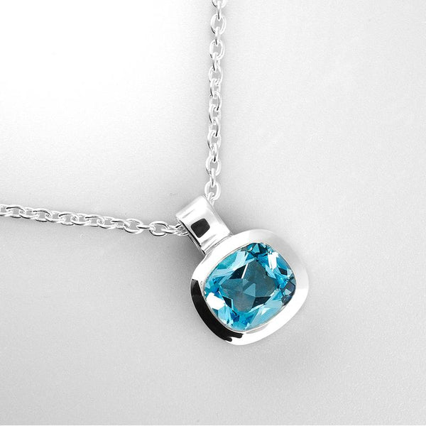 Blue Topaz and Sterling Silver Necklace OJN-11652
