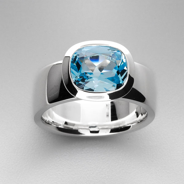 Blue Topaz Sterling Silver Ring OJR-11651