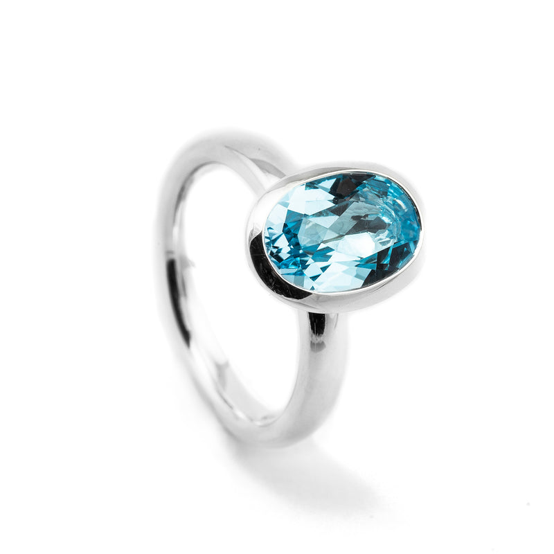 Blue Topaz Oval Silver Ring OJR-25280