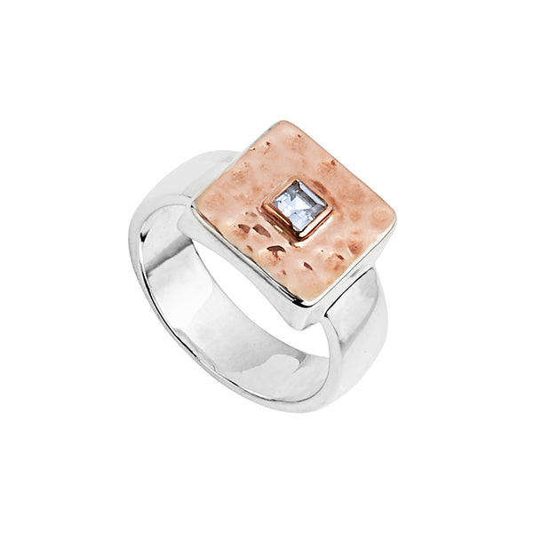 Silver Rose Gold Square Hammered Ring with Blue Topaz NJR6261