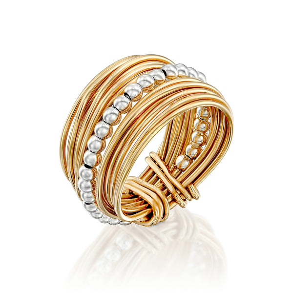 Gold Silver Bead Wire Wrap Ring ITR135