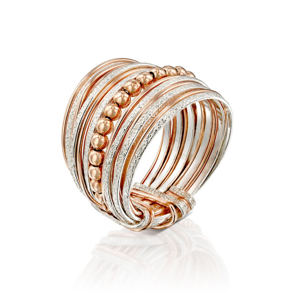 Rose Gold Silver Wire Wrap Bead Ring ITR139